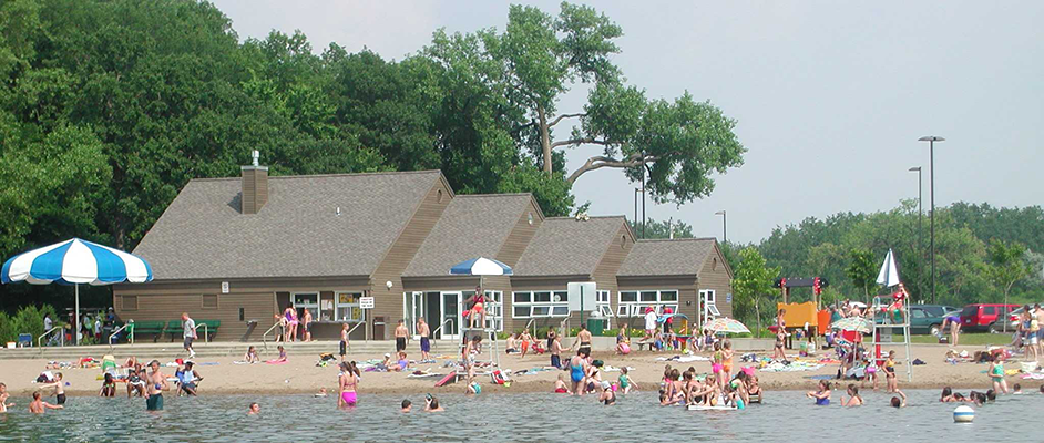 Swimmers at Busch Lake Beach