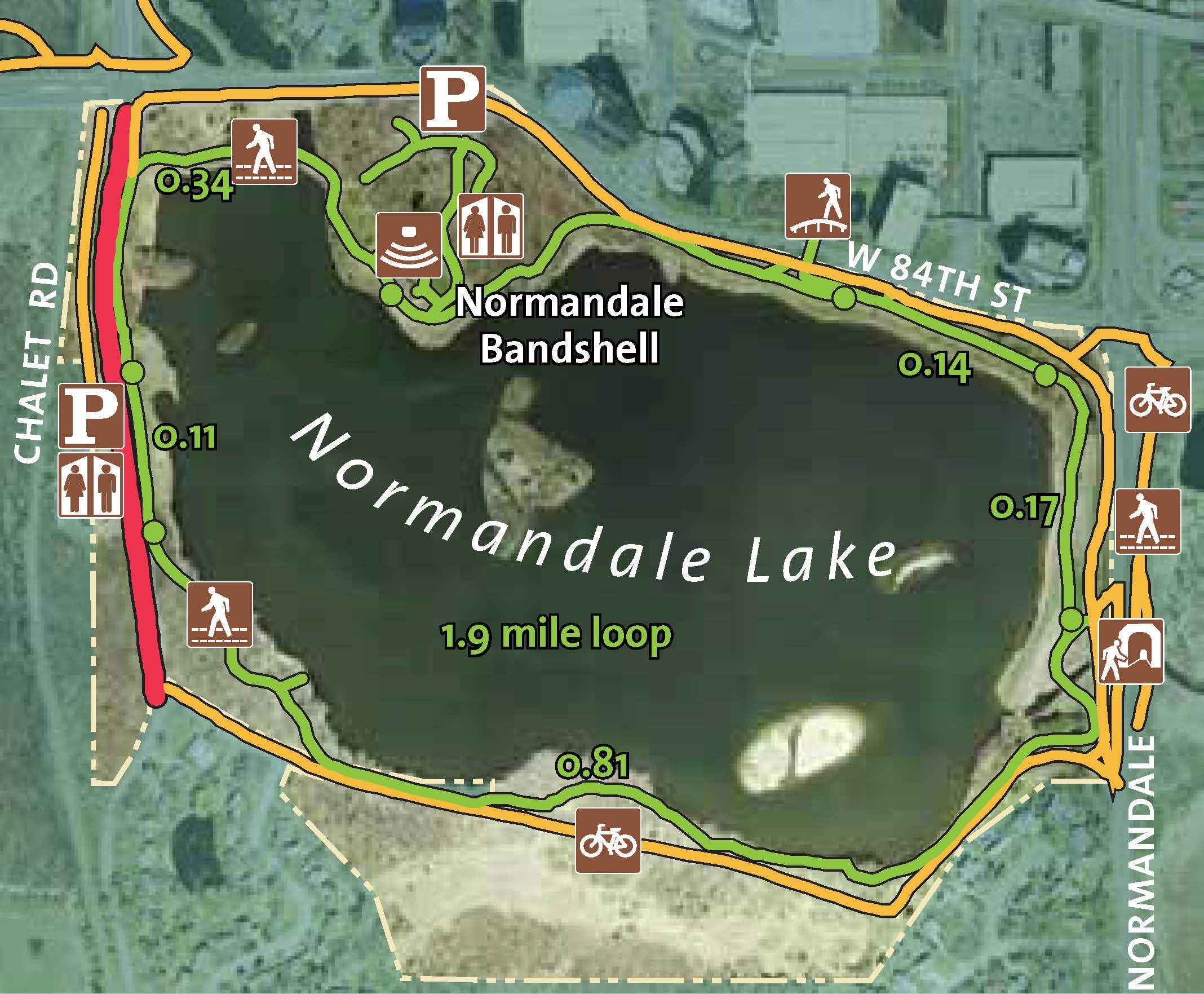 Hiking and biking trail map for Normandale Lake.
