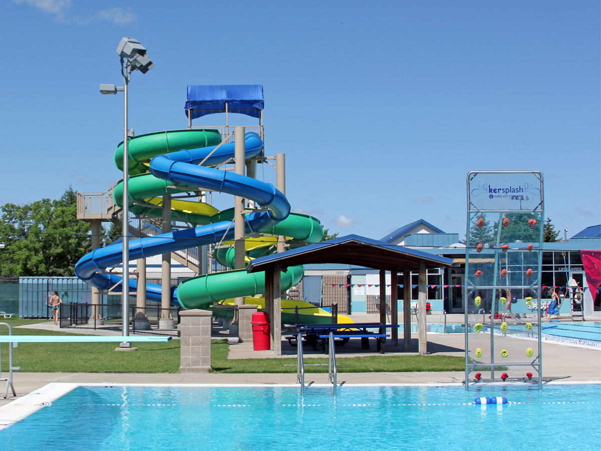 Aquatic Center—Slide and climbing wall.