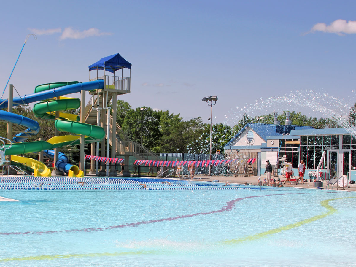 Aquatic Center—Swim lanes and play area.